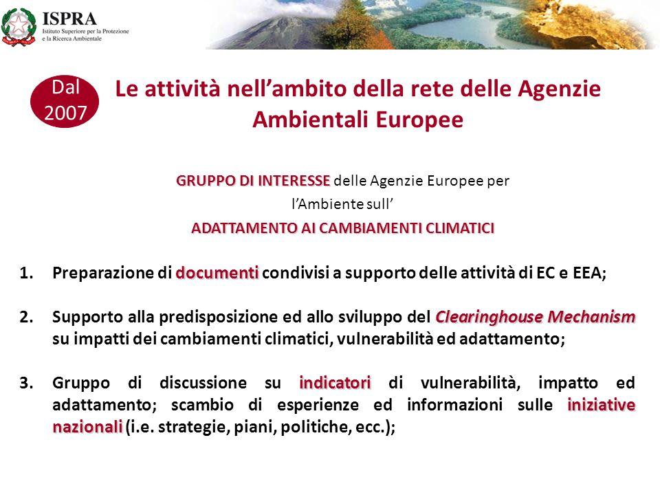 Le attività nell'ambito della rete delle Agenzie Ambientali Europee