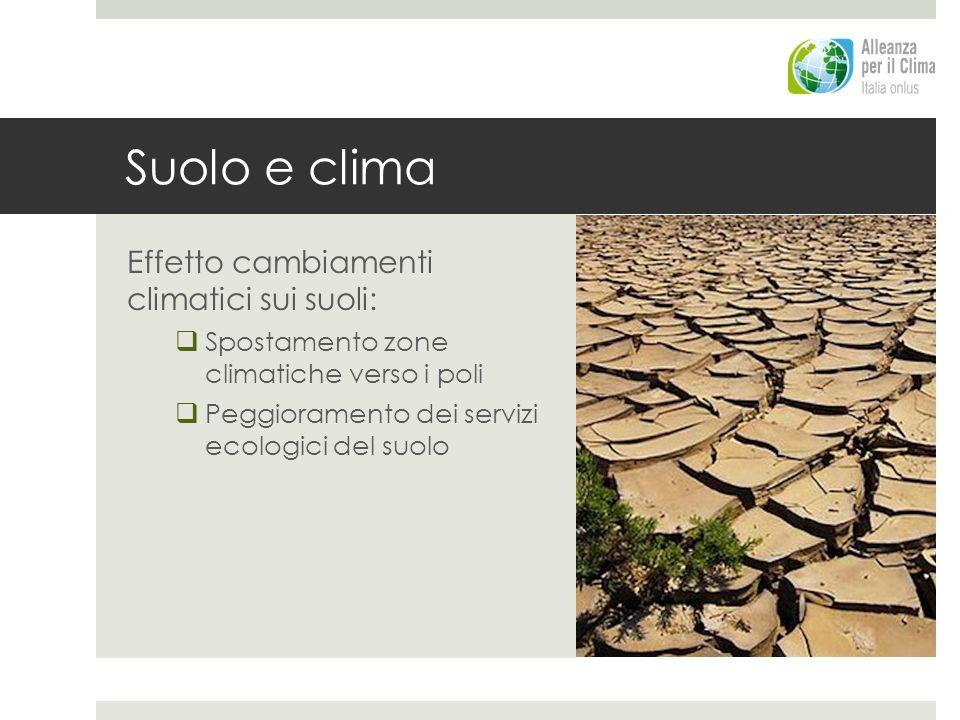 Suolo e clima Effetto cambiamenti climatici sui suoli: