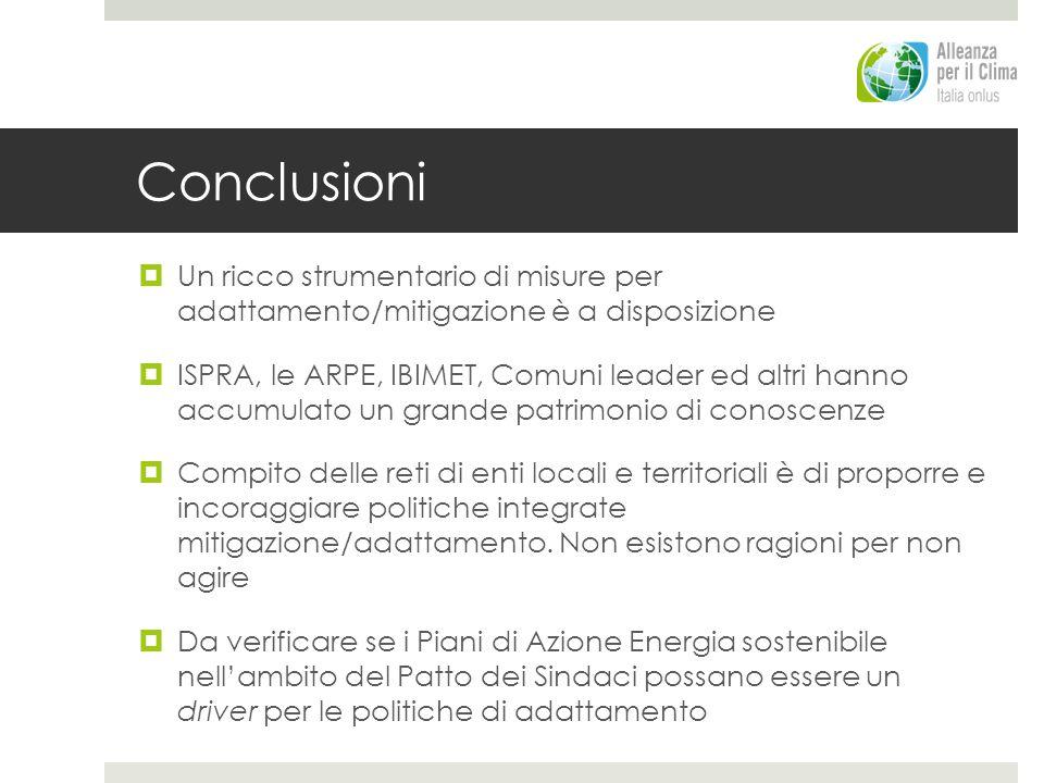Conclusioni Un ricco strumentario di misure per adattamento/mitigazione è a disposizione.