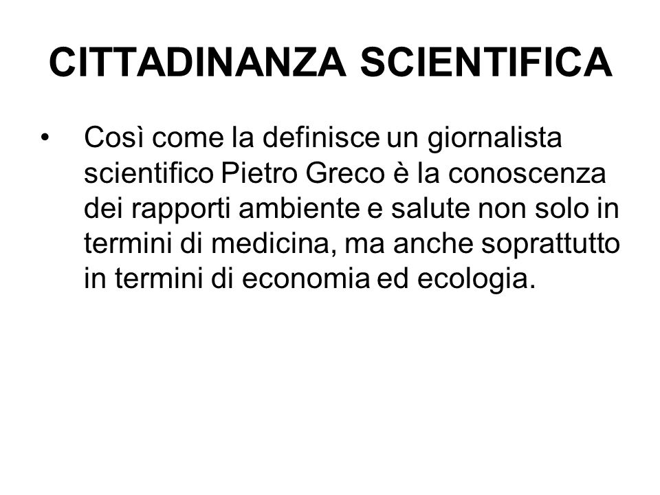CITTADINANZA SCIENTIFICA