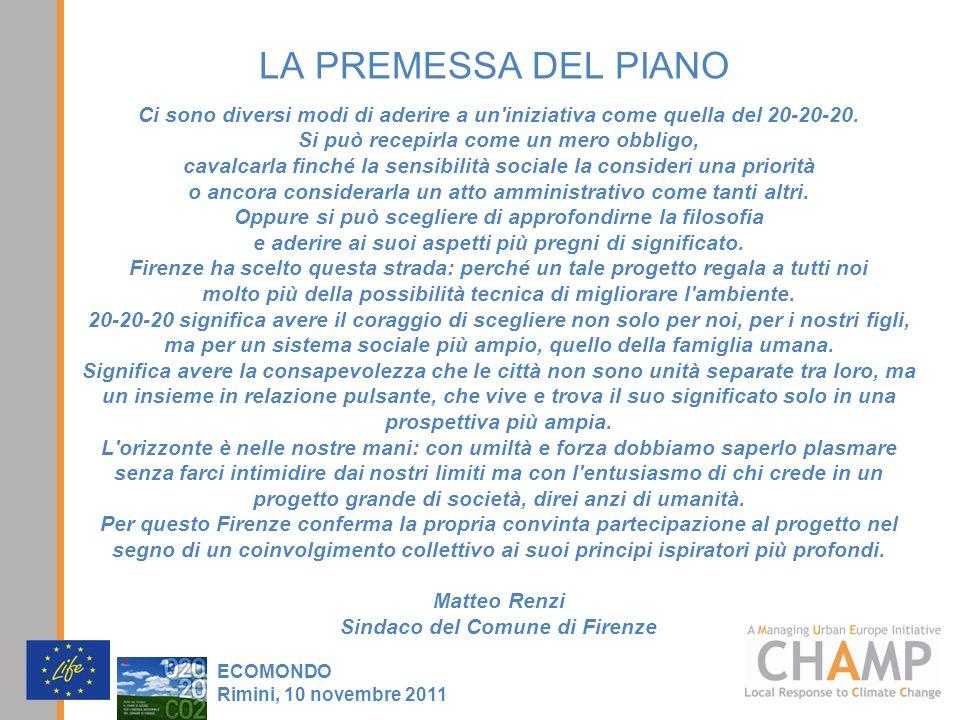 LA PREMESSA DEL PIANO Ci sono diversi modi di aderire a un iniziativa come quella del 20-20-20. Si può recepirla come un mero obbligo,