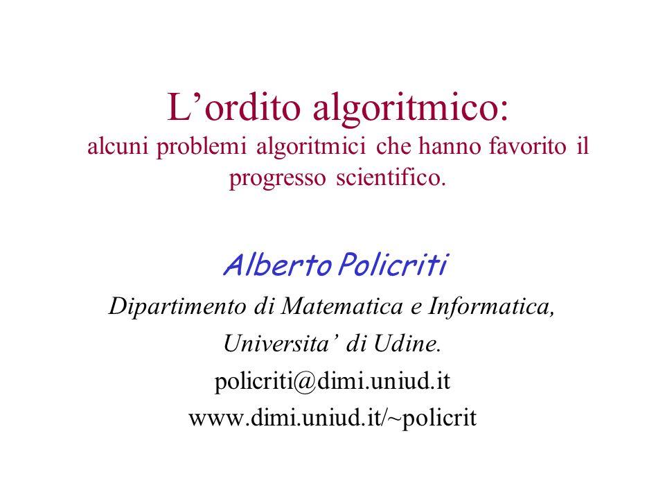 Dipartimento di Matematica e Informatica,