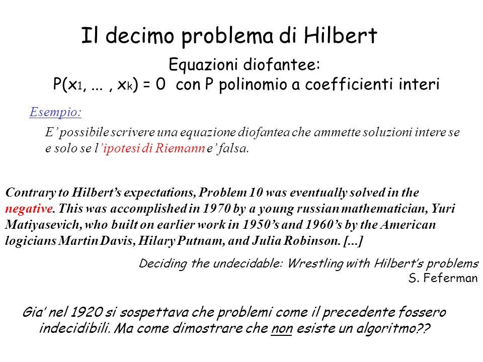 Il decimo problema di Hilbert