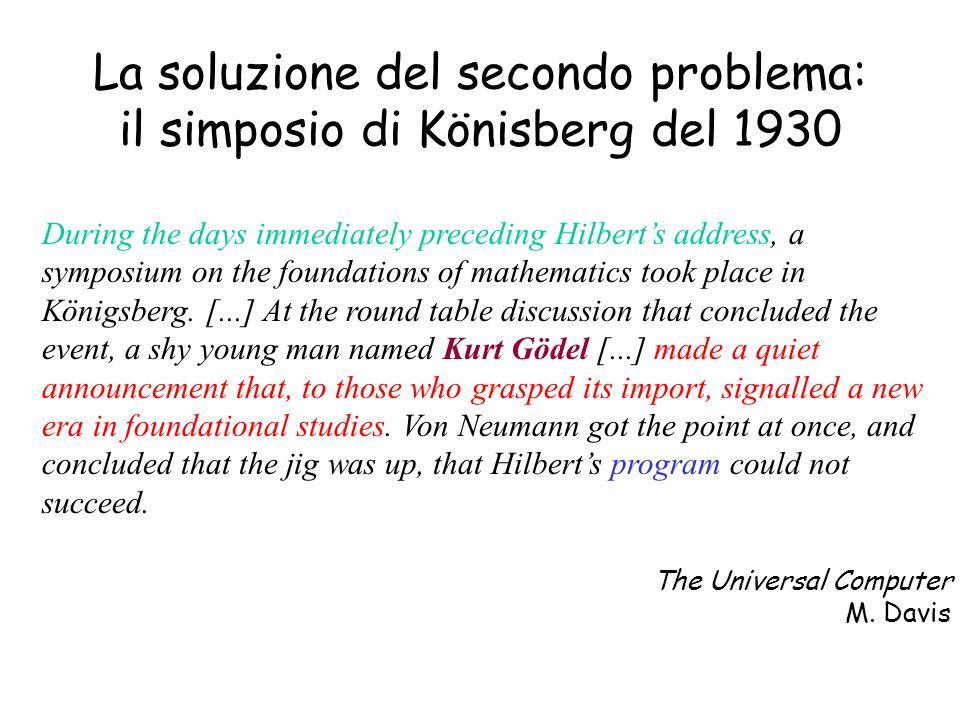 La soluzione del secondo problema: il simposio di Könisberg del 1930
