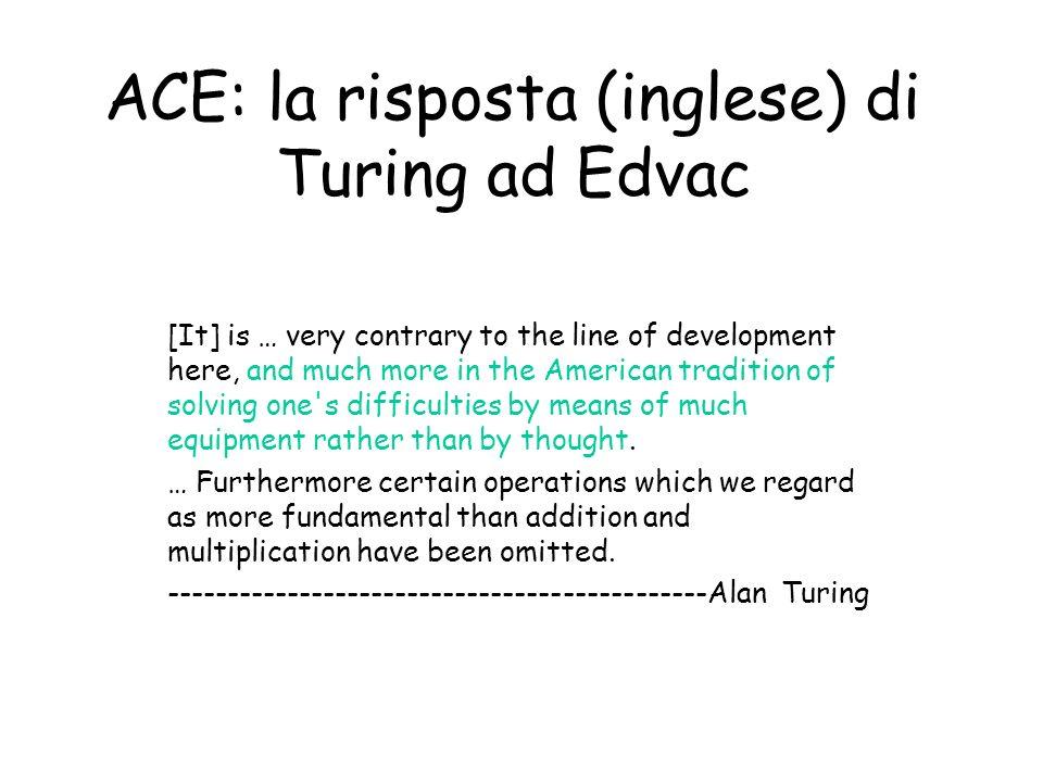 ACE: la risposta (inglese) di Turing ad Edvac