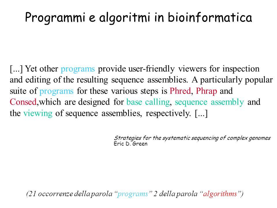 Programmi e algoritmi in bioinformatica