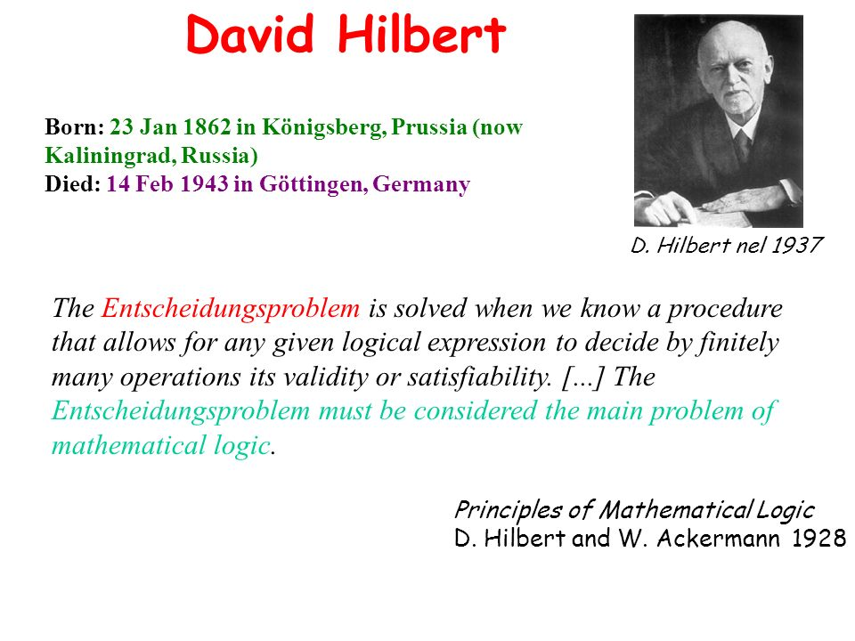 David Hilbert Born: 23 Jan 1862 in Königsberg, Prussia (now Kaliningrad, Russia) Died: 14 Feb 1943 in Göttingen, Germany.
