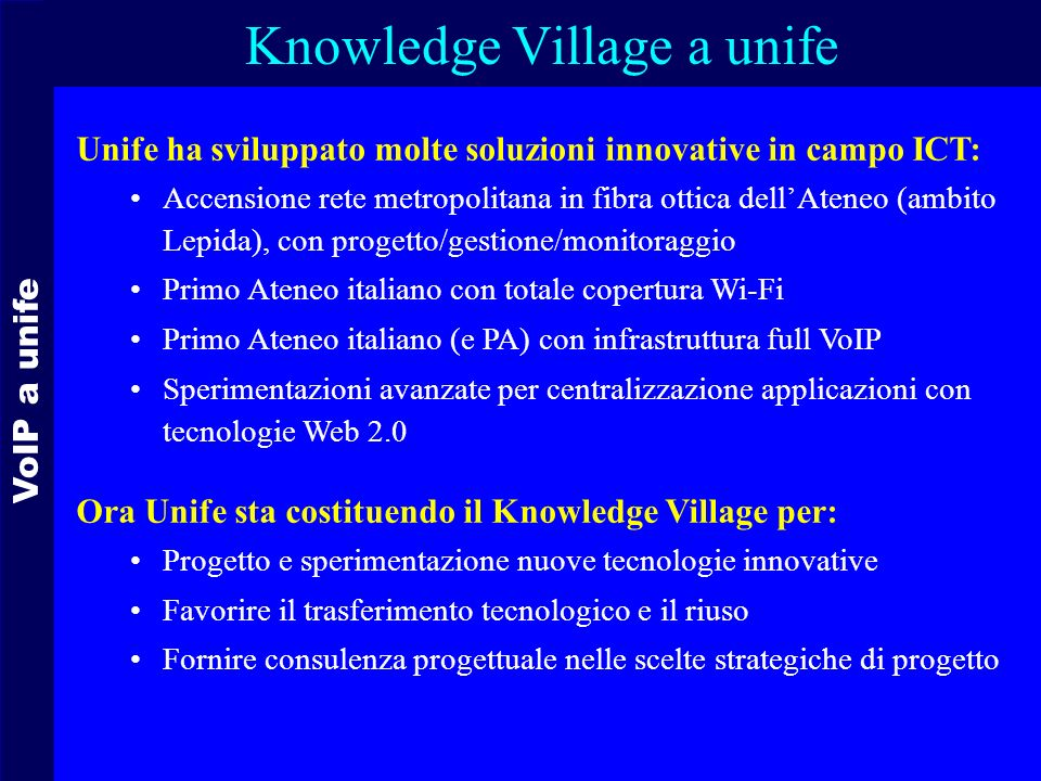 Knowledge Village a unife