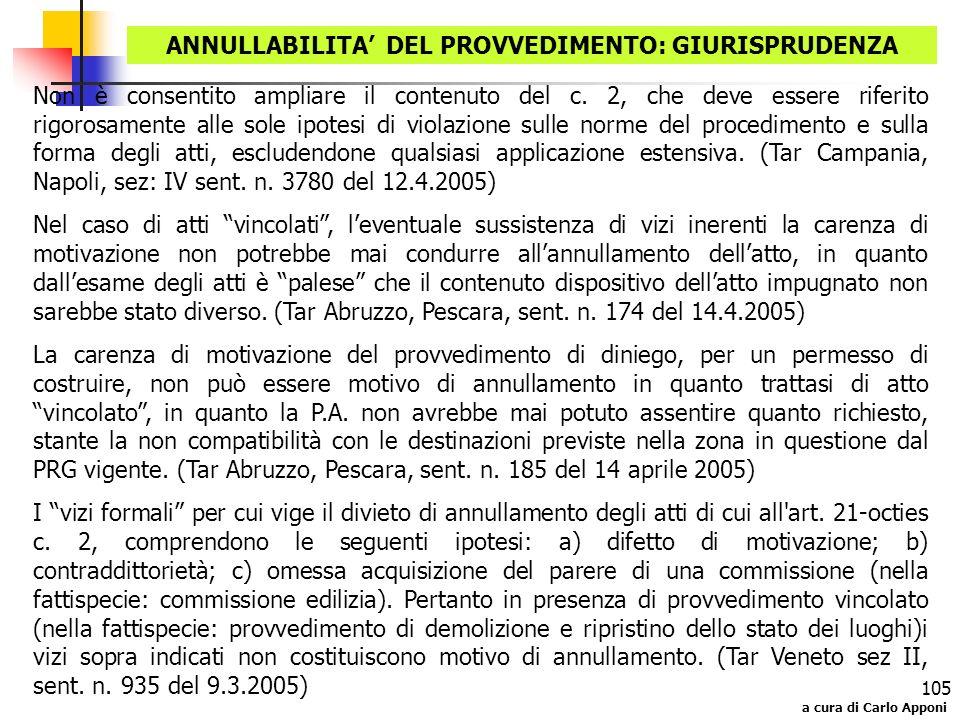 ANNULLABILITA' DEL PROVVEDIMENTO: GIURISPRUDENZA