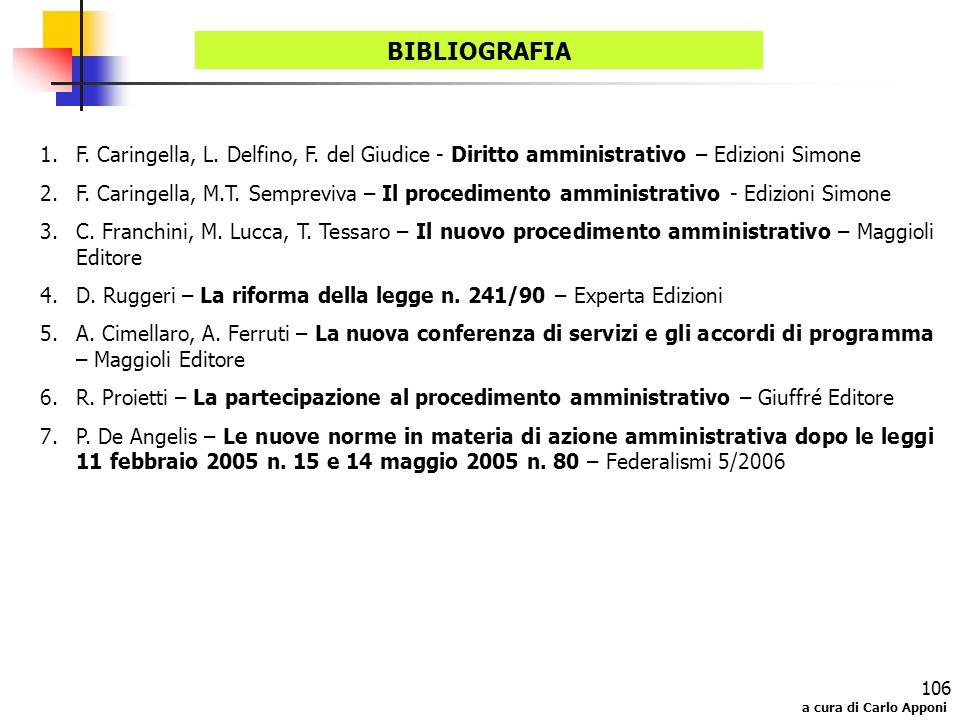 BIBLIOGRAFIA F. Caringella, L. Delfino, F. del Giudice - Diritto amministrativo – Edizioni Simone.
