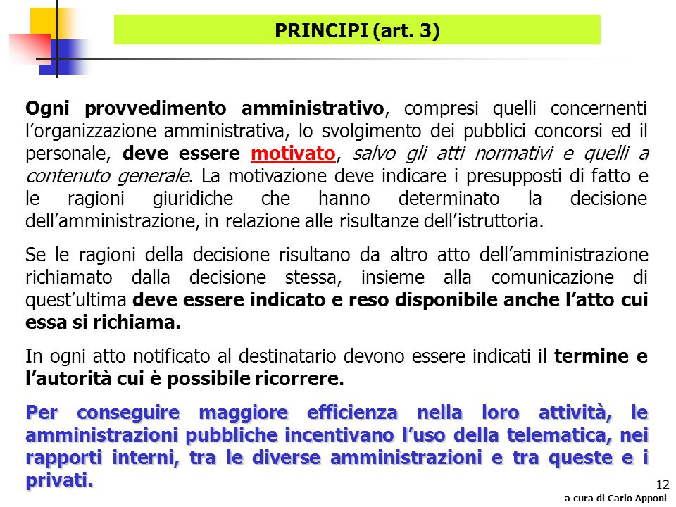 PRINCIPI (art. 3)