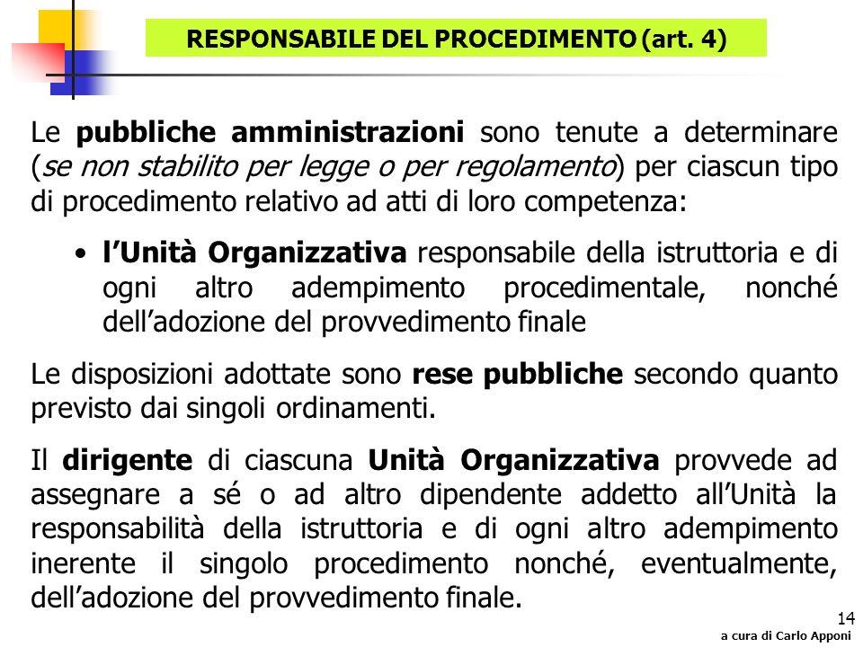 RESPONSABILE DEL PROCEDIMENTO (art. 4)