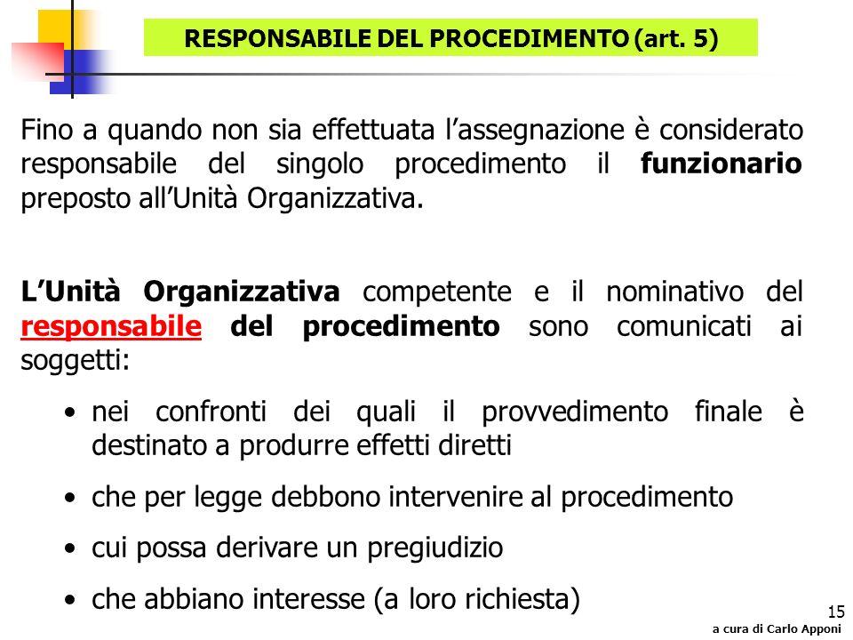 RESPONSABILE DEL PROCEDIMENTO (art. 5)