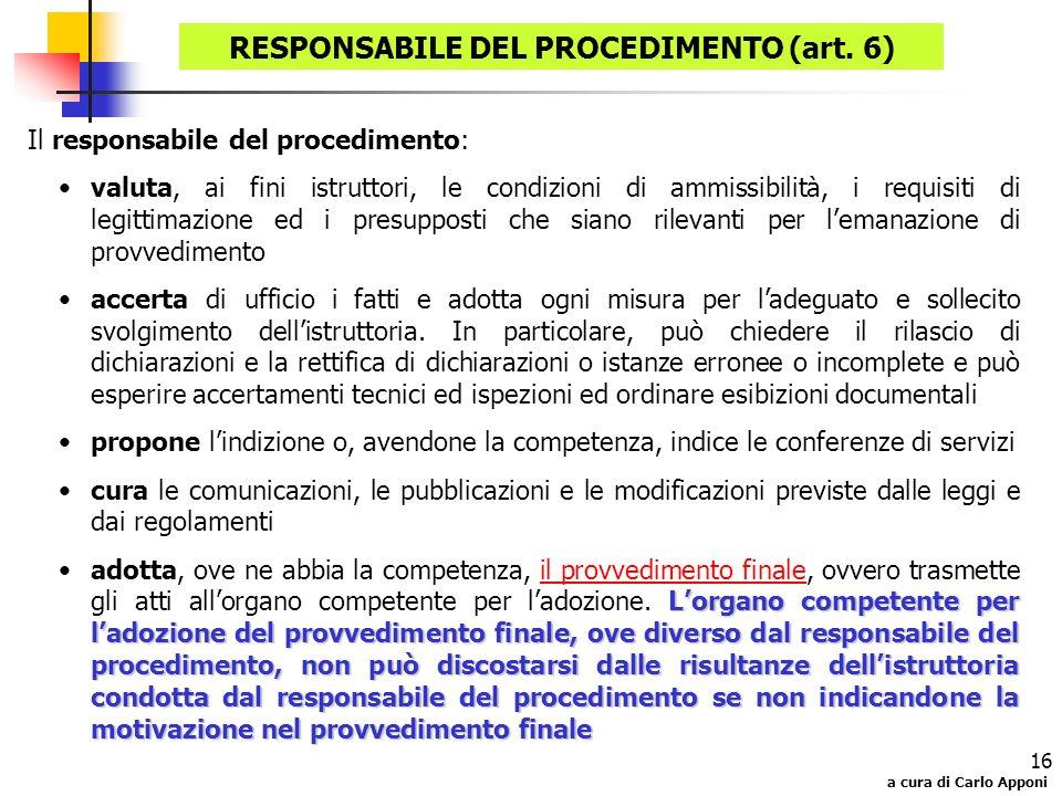 RESPONSABILE DEL PROCEDIMENTO (art. 6)