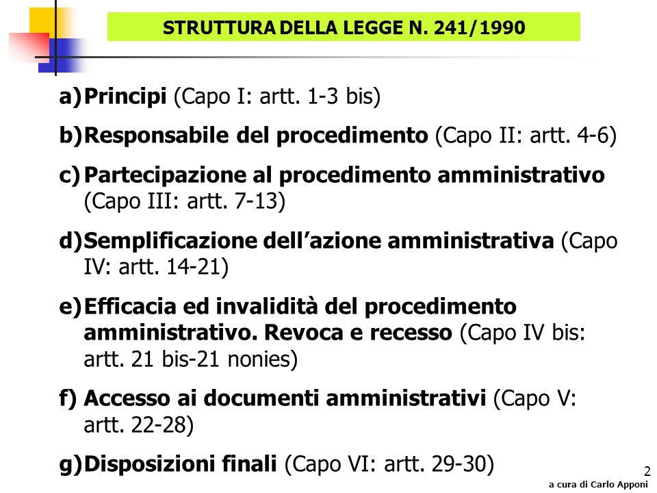STRUTTURA DELLA LEGGE N. 241/1990