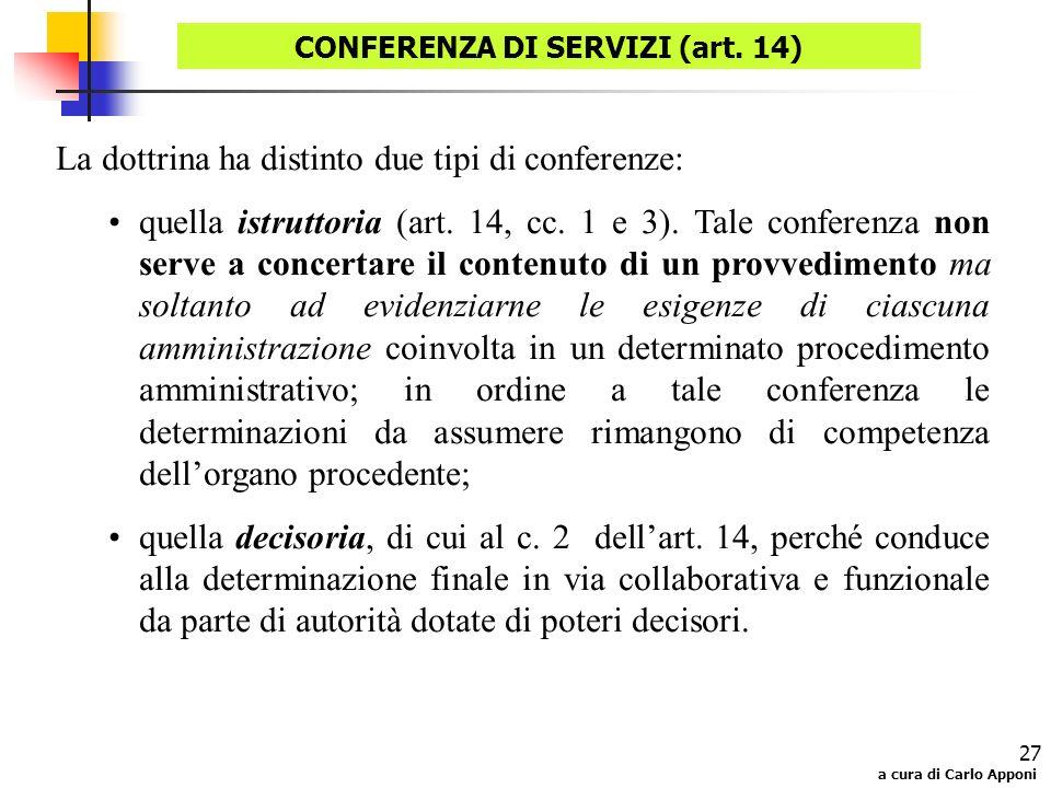 CONFERENZA DI SERVIZI (art. 14)