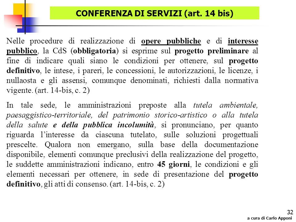 CONFERENZA DI SERVIZI (art. 14 bis)
