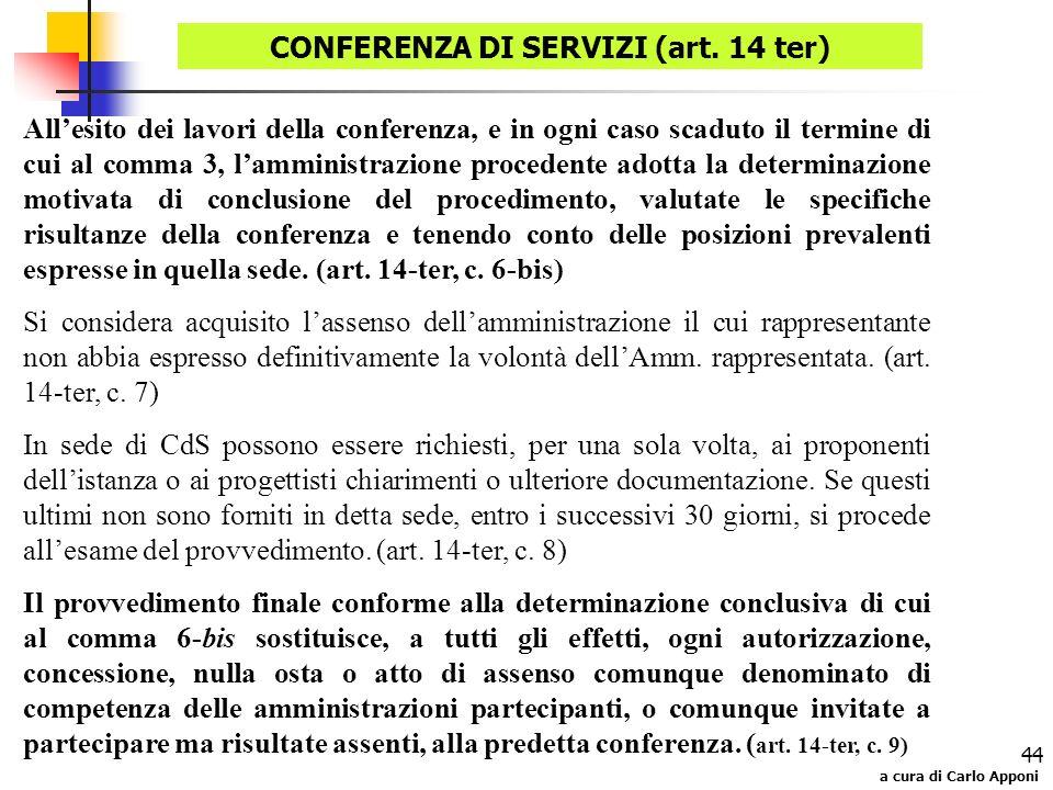 CONFERENZA DI SERVIZI (art. 14 ter)
