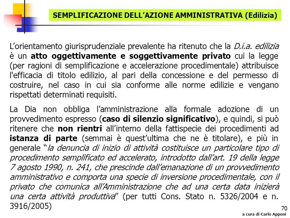 SEMPLIFICAZIONE DELL'AZIONE AMMINISTRATIVA (Edilizia)