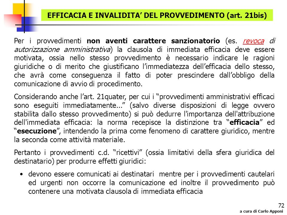 EFFICACIA E INVALIDITA' DEL PROVVEDIMENTO (art. 21bis)