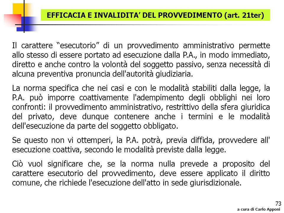 EFFICACIA E INVALIDITA' DEL PROVVEDIMENTO (art. 21ter)