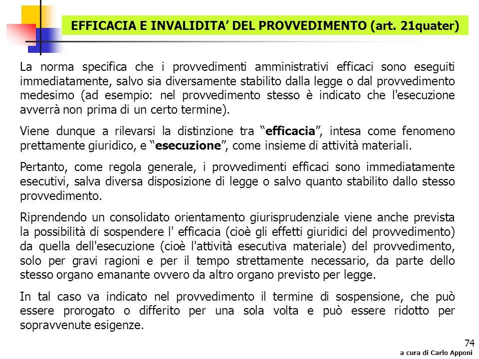 EFFICACIA E INVALIDITA' DEL PROVVEDIMENTO (art. 21quater)