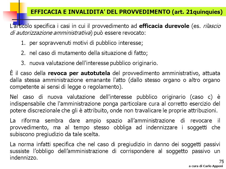 EFFICACIA E INVALIDITA' DEL PROVVEDIMENTO (art. 21quinquies)