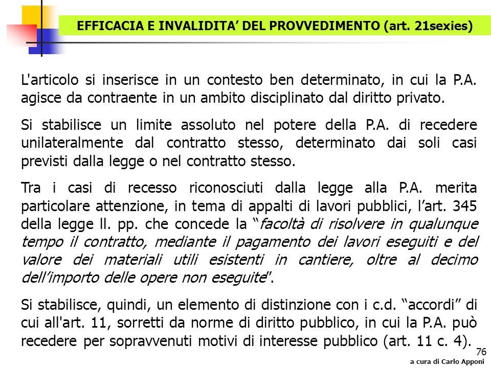 EFFICACIA E INVALIDITA' DEL PROVVEDIMENTO (art. 21sexies)