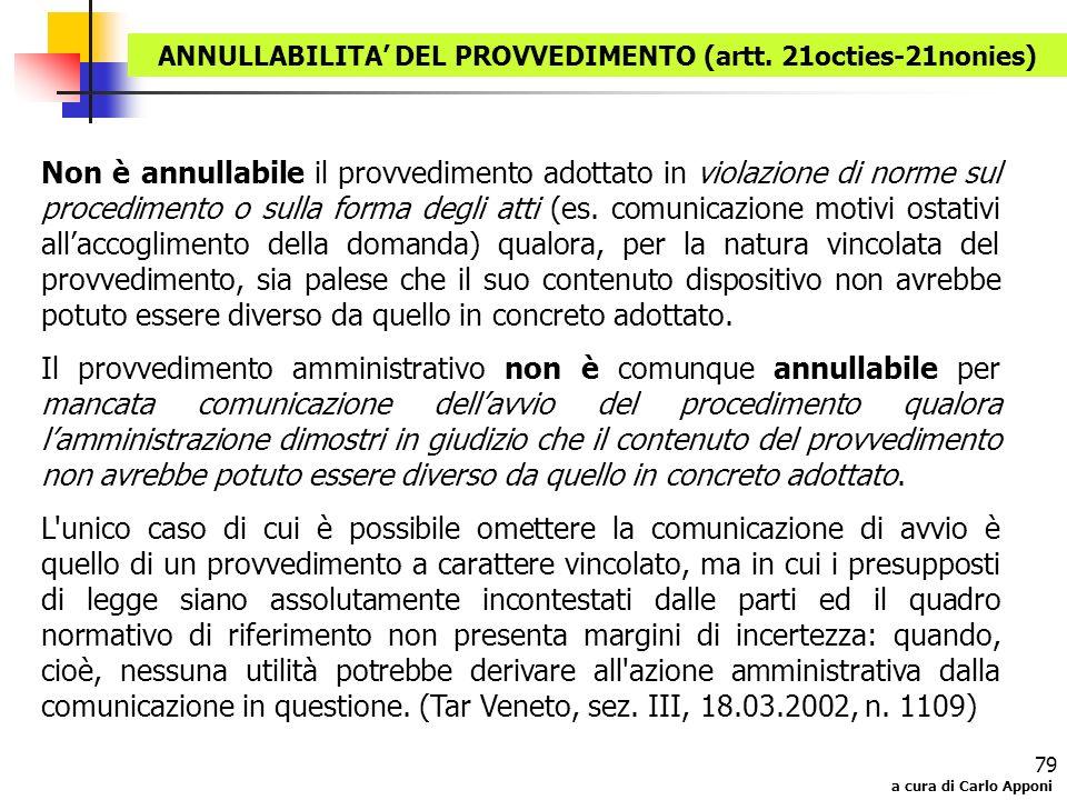 ANNULLABILITA' DEL PROVVEDIMENTO (artt. 21octies-21nonies)