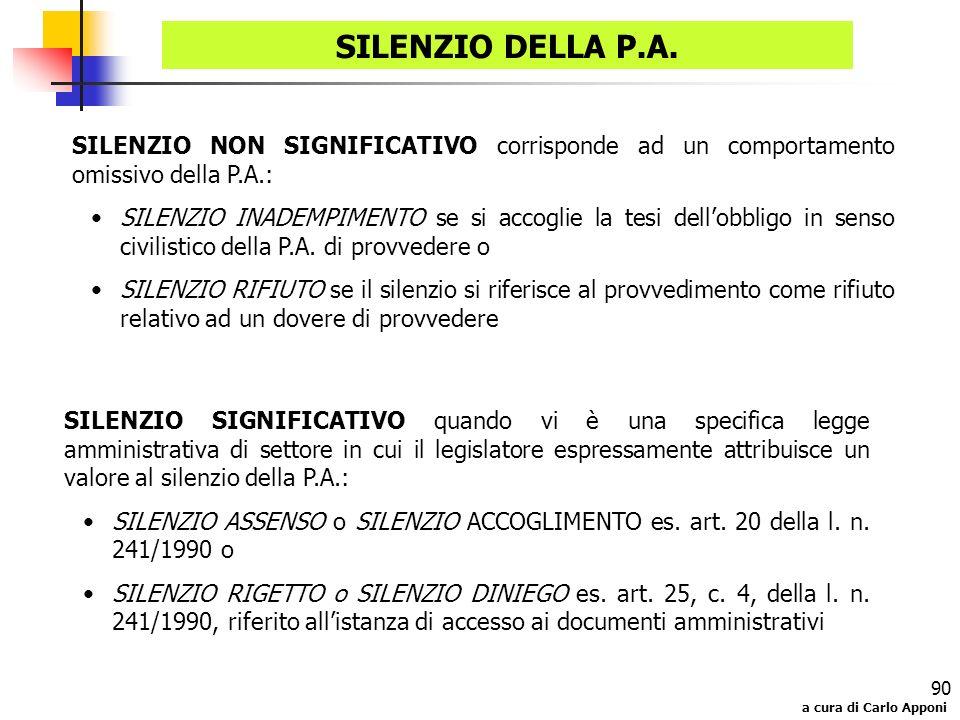 SILENZIO DELLA P.A. SILENZIO NON SIGNIFICATIVO corrisponde ad un comportamento omissivo della P.A.: