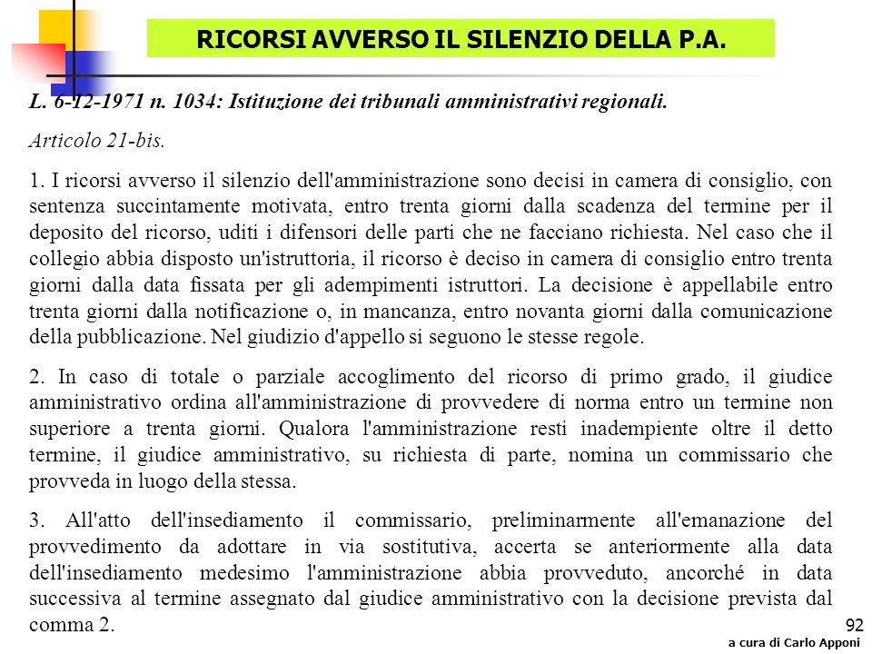 RICORSI AVVERSO IL SILENZIO DELLA P.A.