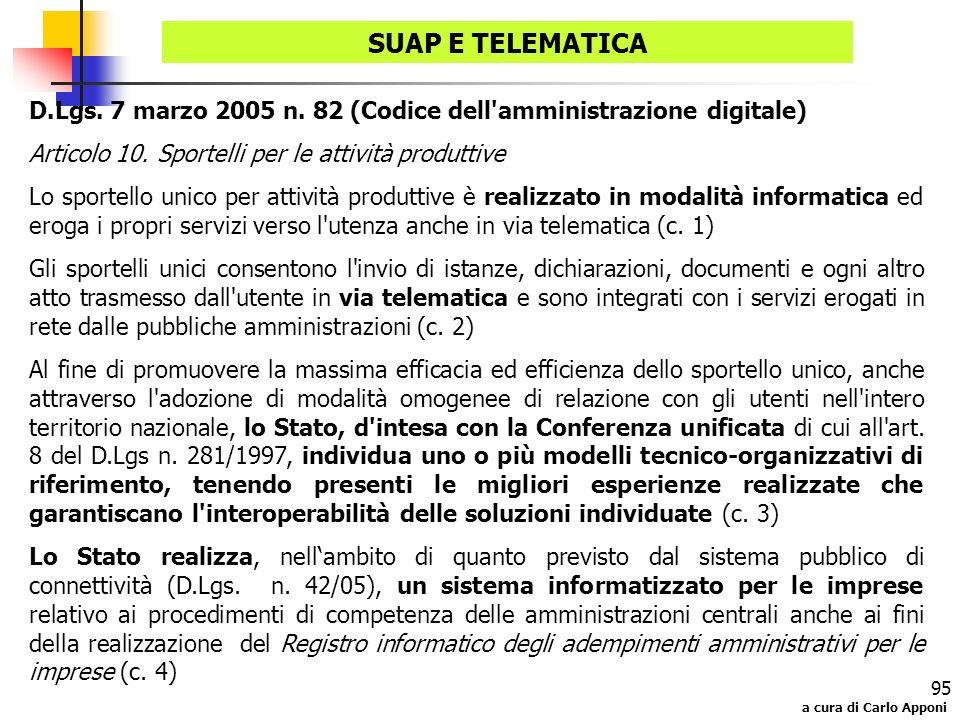SUAP E TELEMATICA D.Lgs. 7 marzo 2005 n. 82 (Codice dell amministrazione digitale) Articolo 10. Sportelli per le attività produttive.