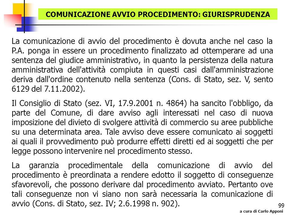 COMUNICAZIONE AVVIO PROCEDIMENTO: GIURISPRUDENZA