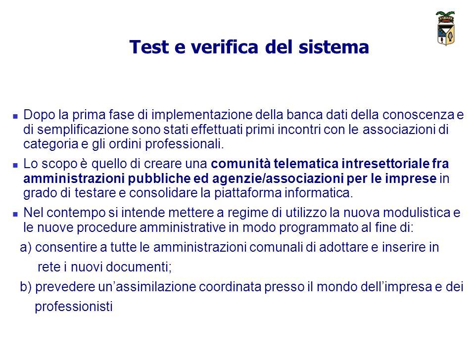 Test e verifica del sistema