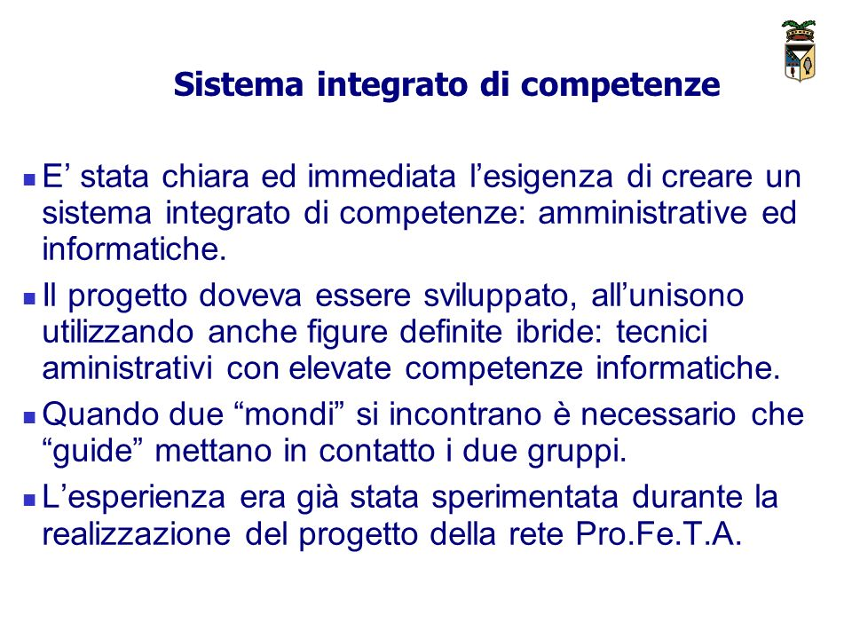 Sistema integrato di competenze