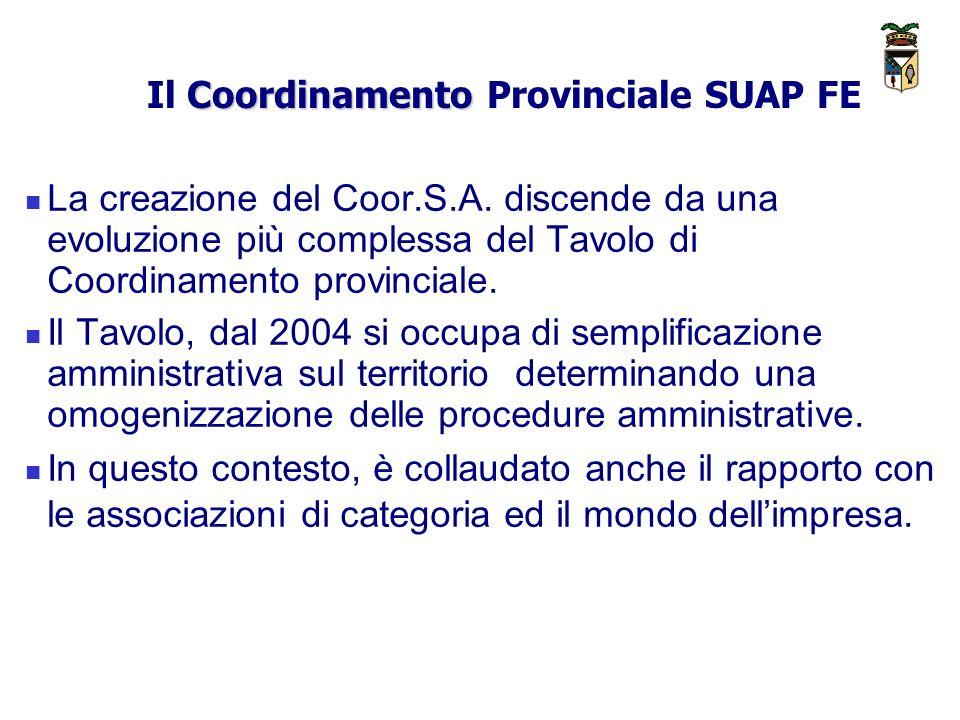 Il Coordinamento Provinciale SUAP FE