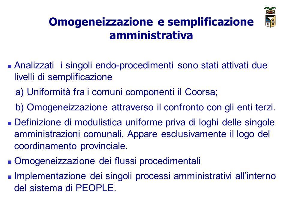 Omogeneizzazione e semplificazione amministrativa