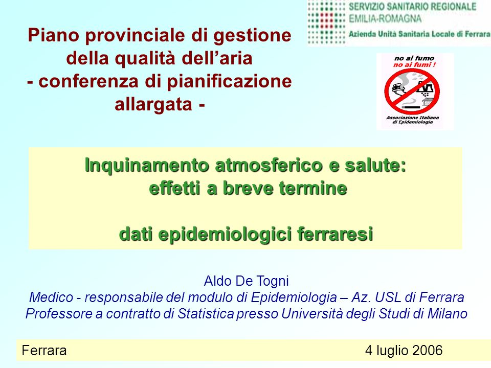 Medico - responsabile del modulo di Epidemiologia – Az. USL di Ferrara