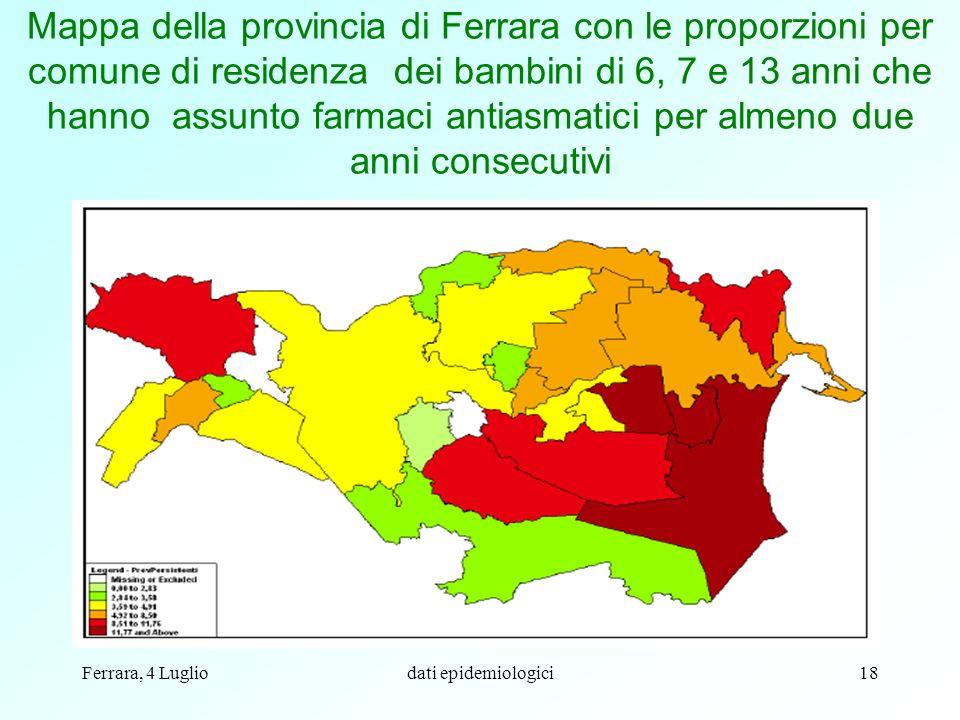 Mappa della provincia di Ferrara con le proporzioni per comune di residenza dei bambini di 6, 7 e 13 anni che hanno assunto farmaci antiasmatici per almeno due anni consecutivi