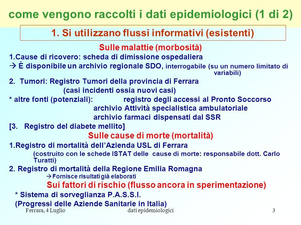 come vengono raccolti i dati epidemiologici (1 di 2)