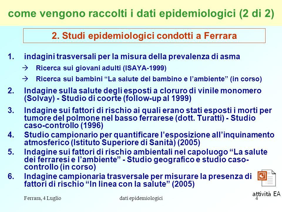 come vengono raccolti i dati epidemiologici (2 di 2)