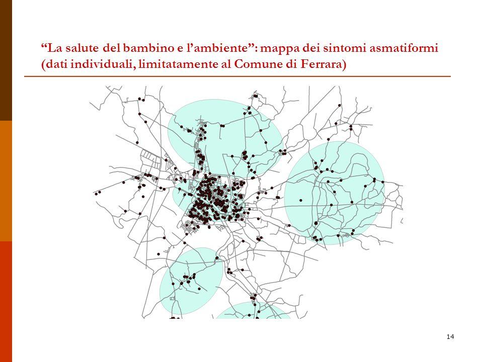 La salute del bambino e l'ambiente : mappa dei sintomi asmatiformi (dati individuali, limitatamente al Comune di Ferrara)