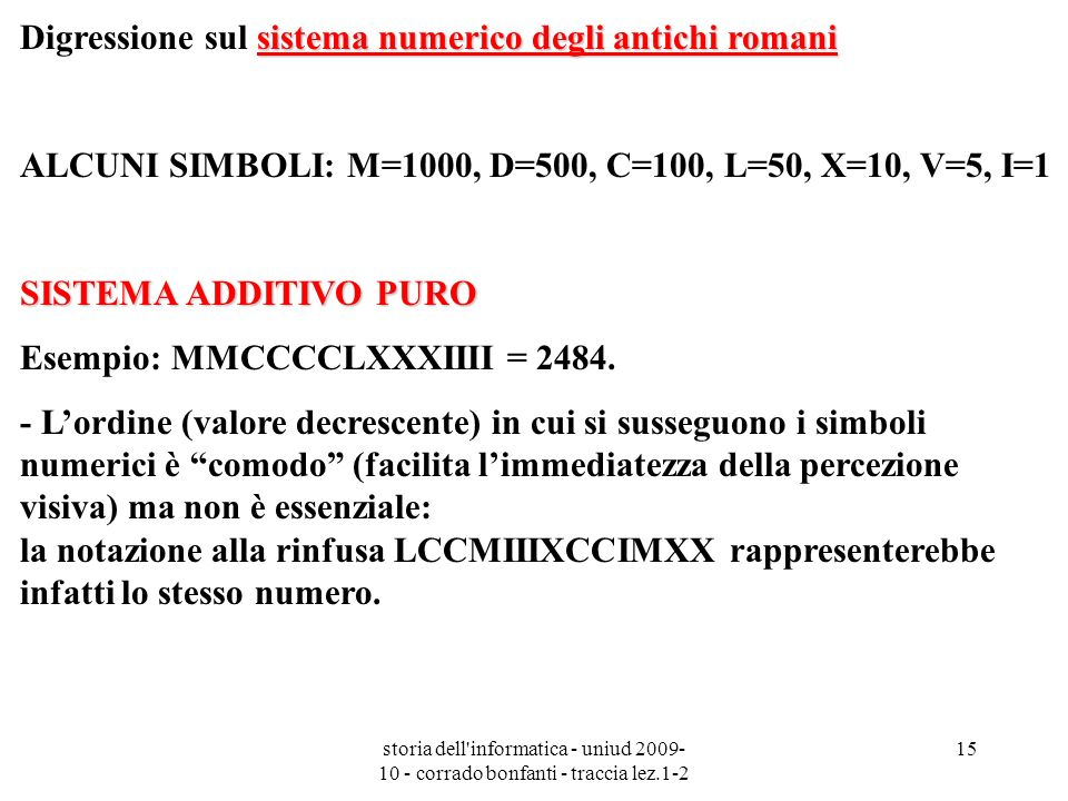 Digressione sul sistema numerico degli antichi romani