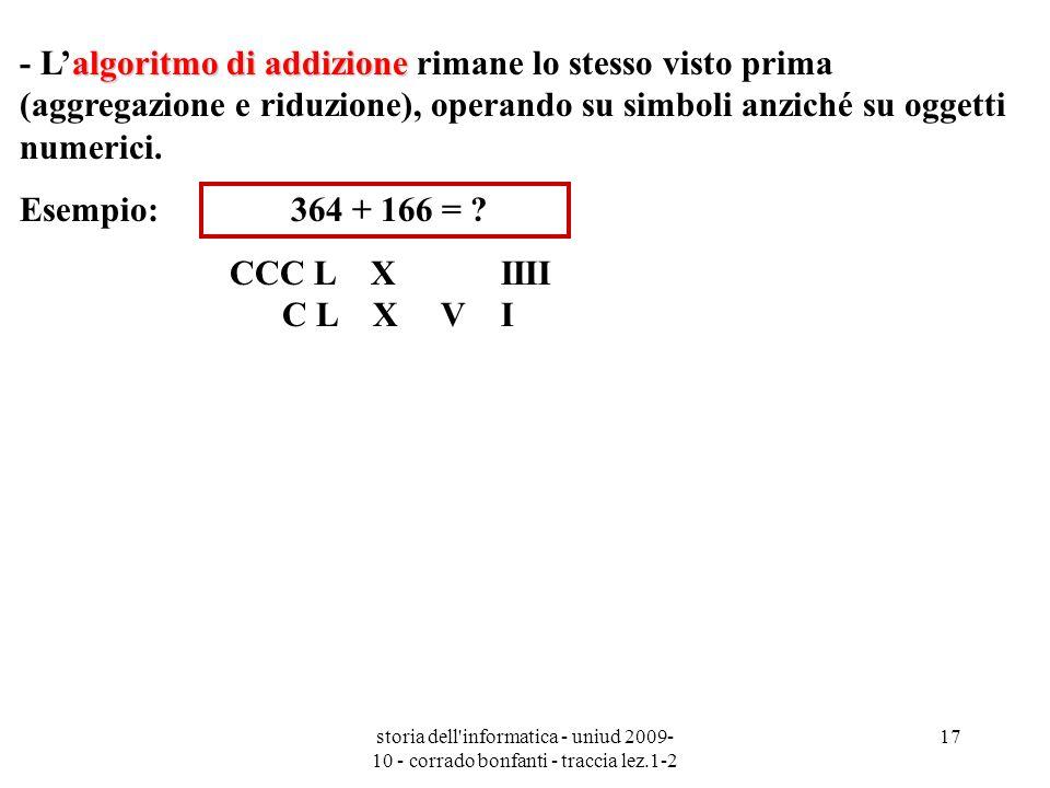 - L'algoritmo di addizione rimane lo stesso visto prima (aggregazione e riduzione), operando su simboli anziché su oggetti numerici.