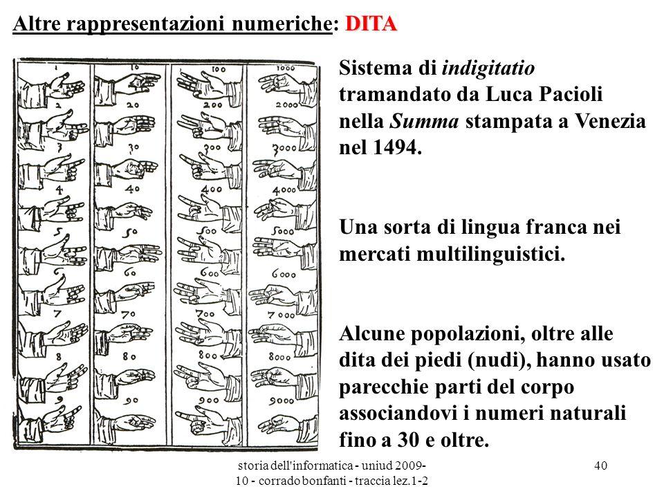 Altre rappresentazioni numeriche: DITA