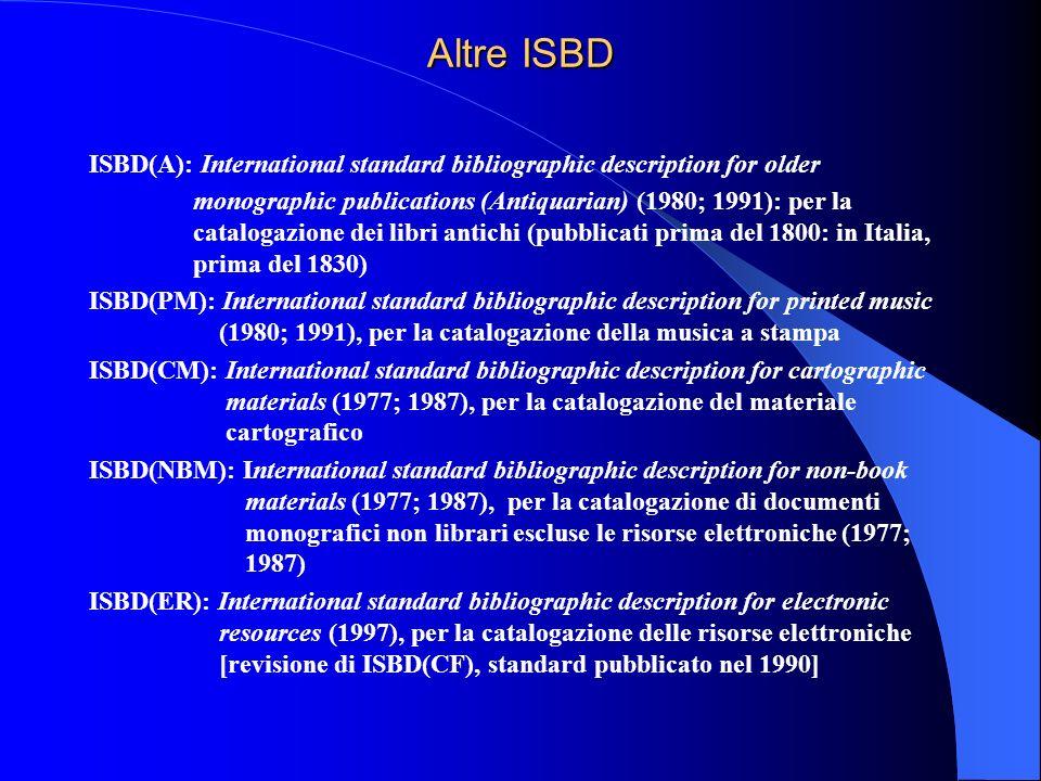 Altre ISBD