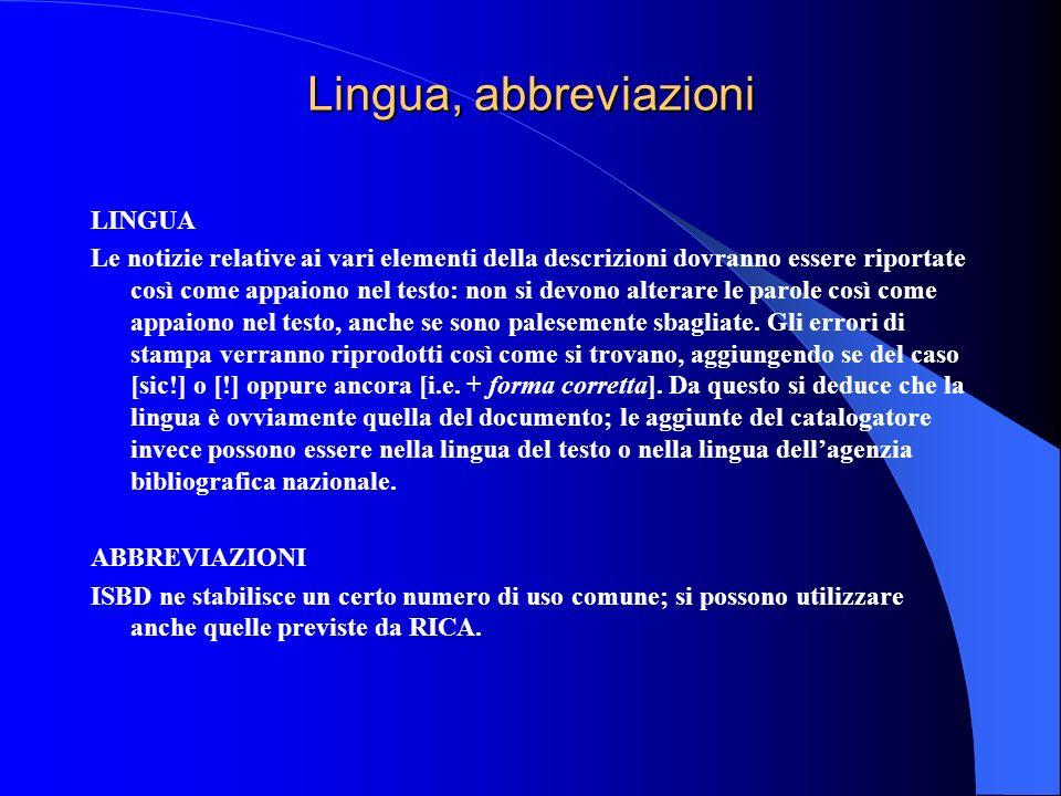 Lingua, abbreviazioni