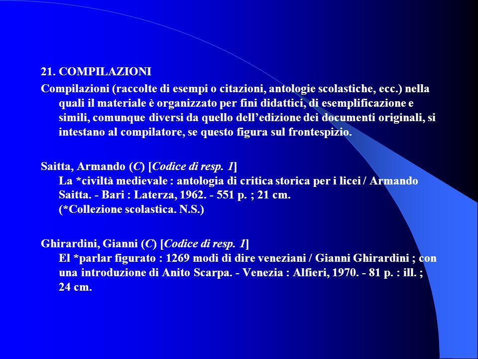 21. COMPILAZIONI