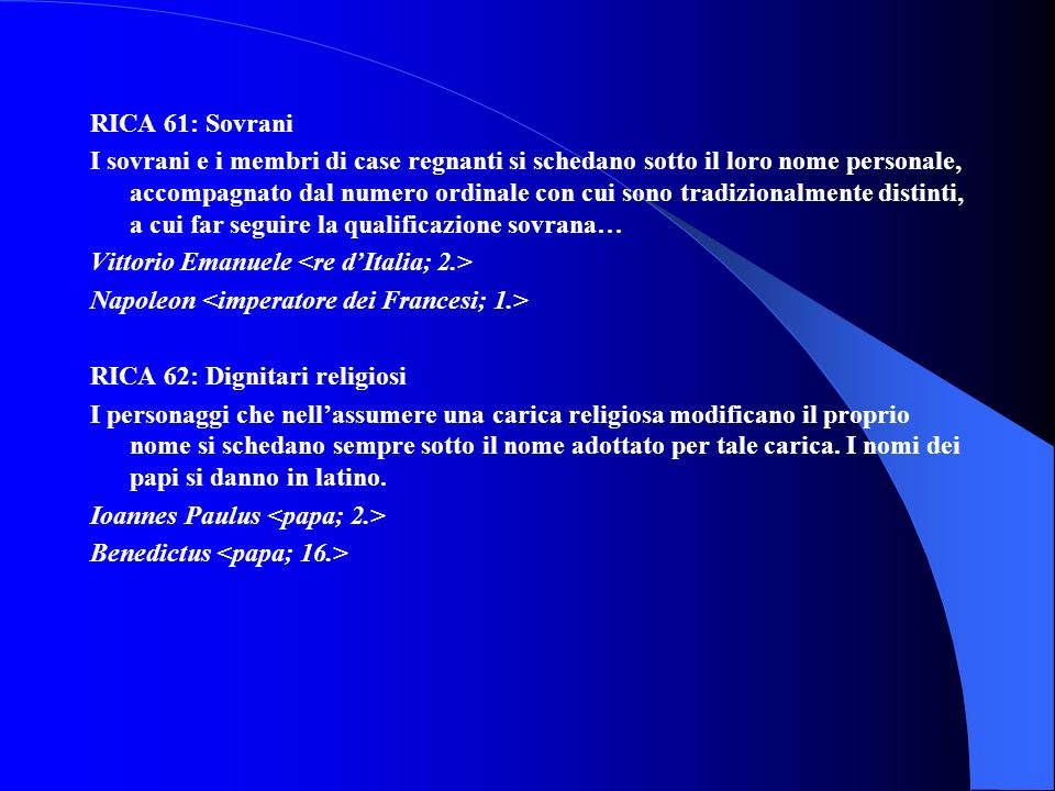 RICA 61: Sovrani