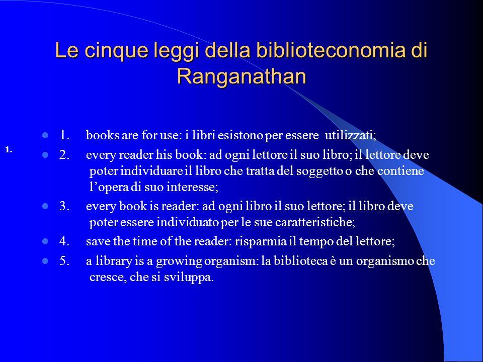 Le cinque leggi della biblioteconomia di Ranganathan